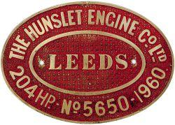 Diesel worksplate THE HUNSLETT ENGINE CO LTD No 5650 - 1960. Ex BR class 05 0-6-0 Diesel