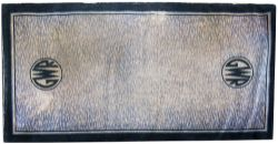 GWR carriage compartment carpet with GWR roundels either end. Measures 80in x 27in. In good