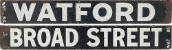 LMS/LNWR enamel destination board WATFORD-BROAD STREET. As used on the LMS/LNWR electric suburban