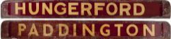 GWR/BR-W wooden carriage board HUNGERFORD - PADDINGTON painted straw on maroon and measuring 32in