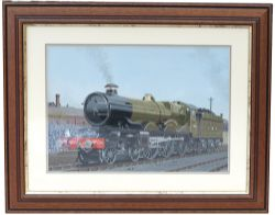 Original watercolour painting of Great Western Railway Castle No 4088 DARTMOUTH CASTLE on shed by