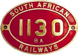 South African brass cabside numberplate SOUTH AFRICAN RAILWAYS 1130 8A ex 4-8-0 built by Sharp