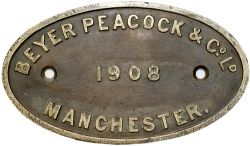 Worksplate BEYER PEACOCK & CO LD MANCHESTER 1908 ex Taff Vale Railway Hurry Riches 04 0-6-2T No56