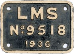 LMS cast iron tenderplate LMS No9518 1936 ex Stanier Class 5 4-6-0 45282 which was withdrawn in
