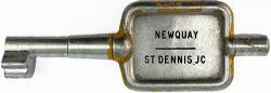 GWR / BR-W Tyers No9 single line aluminium key token NEWQUAY - ST DENNIS.JC, configuration D. In