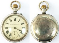 Great Northern Railway Guards watch No 358. In a nickel case with a brass English lever movement