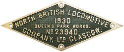 Worksplate NORTH BRITISH LOCOMOTIVE COMPANY LTD GLASGOW QUEENS PARK WORKS No23940 1930 ex GWR 0-6-