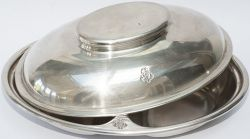 Great Western Railway Hotels silverplate vegetable dish with cover, both marked clearly with GWR