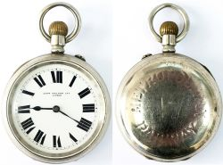 Metropolitan Railway Guards watch No 17. In a nickel case with a brass English lever movement with