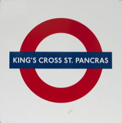 London Transport enamel roundel sign KINGS CROSS ST PANCRAS. Measures 25in x 25in and is in very