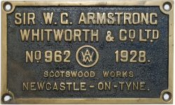 Worksplate SIR W.G.ARMSTRONG WHITWORTH & CO LTD No962 1928 ex GWR 0-6-2T No6674. Sheds included