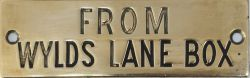 GWR hand engraved brass shelf plate FROM WYLDS LANE BOX. The plate is made from a much earlier