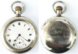 LNER (Scotland) Railway Engineers Department watch No 1. In a nickel case with a Swiss 7 jewel