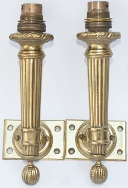Pullman carriage lamps, an identical pair of 1st class wall mounted examples, from one of the