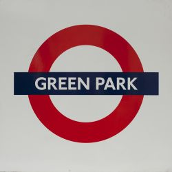 London Transport enamel roundel sign GREEN PARK. Measures 25in x 25in and is in very good