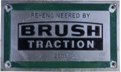 Diesel worksplate RE ENGINEERED BY BRUSH TRACTION 2003 ex Class 57 57307 which was named