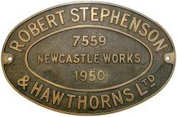 Worksplate ROBERT STEPHENSON & HAWTHORNS LTD NEWCASTLE WORKS 7559 1950 ex GWR/BR-W 0-6-0PT 9442.