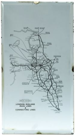 BR(M) advertising mirror LONDON MIDLAND MAIN LINES & CONNECTING LINES. Shows a map of the lines
