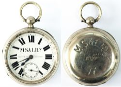 Manchester Sheffield and Lincolnshire Railway Guards Watch No 77. In a nickel case with Brass