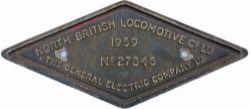 Diesel worksplate NORTH BRITISH LOCOMOTIVE CO LTD THE GENERAL ELECTRIC COMPANY LTD No 27846, ex BR