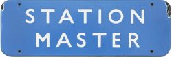 BR(SC) FF enamel doorplate STATION MASTER measuring 18in x 6in. In good condition with a couple of
