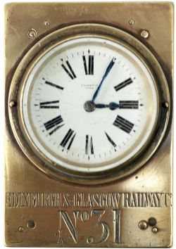 Edinburgh & Glasgow Railway Guards Watch No 31 in a rectangular brass and wood case. Dial marked