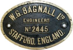 Worksplate W.G.BAGNALL LTD STAFFORD ENGLAND No2445 ex GWR 0-6-0PT 8748. Built in 1931, sheds include