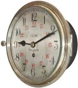 Pullman brass cased 8in railway clock, dial engraved and wax filled PULLMAN T.C.90 MADE IN ENGLAND