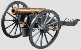 Modell einer Feldhaubitze, im Stil um 1850 Bronzerohr im Kaliber 12,5 mm, kanonierte Mündung,