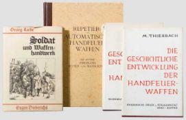 Drei Bücher bzw. Nachdrucke von Waffenbüchern Thierbach, von Kromar, Liebe Moritz Thierbach, Die
