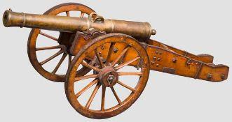 Modell eines Feldgeschützes, 19. Jhdt. Bronzerohr im Kaliber 19,5 mm, kanonierte Mündung, Vorder-,
