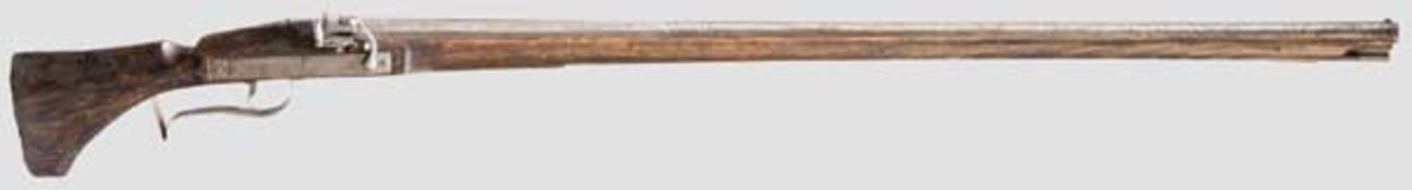 Luntenschlossmuskete, Suhl, Mitte 17. Jhdt. Achtkantiger, nach geschnittenen Balustern in rund