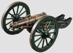 Modell eines Feldgeschützes, im Stil des späten 18. Jhdts. Bronzerohr im Kaliber 9,5 mm,