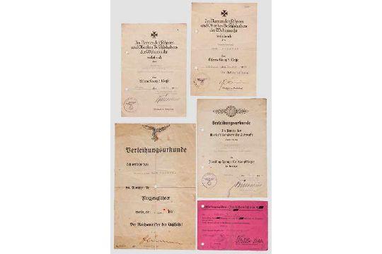 Oberfeldwebel Fritz Bächtle - Urkundengruppe 1. Störkampfstaffel Ost ...