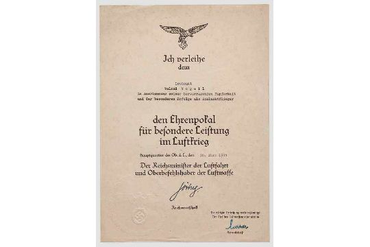 Oberleutnant Wolrad Vogell - Urkundengruppe des Schlachtfliegers ...
