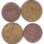 Ceylon 1859 (ND) Copper Token, Sebastian Mills, 'B' at centre, obv Elephant at Centre, AUNC, a