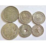 Belgium 1900 5 Centimes 'DES BELGES' AEF, KM 40, 1862 10 Centimes, GEF/AUNC, KM 22 and 1898 10