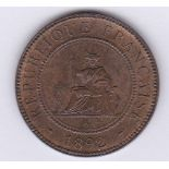 French Indo-China 1892A Cent, UNC with fine lustre, KM 1