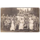 Royal Army Medical Corps WWI Hospital RP Group with Nurses and Wounded Patients, used Sheffield