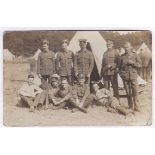 Norfolk Regiment WWI-Camp Photo group outside, tents Market Deeping, used to Devonport 1913,m/s'
