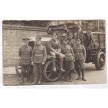 Army Service Corps WWI Quality photo postcard W.D. Truck with driver and six privates in