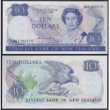 New Zealand-Reserve Bank 1981-85, Ten Dollars,NAA 000179 Blue, Hardie Chief Cashier signature,P172a,