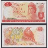 New Zealand-Reserve Bank 1975-77, Five Dollars, 991 323482 Orange, Knight, Chief Cashier signature