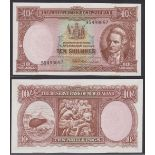 New Zealand-Reserve Bank 1956-67(ND) Ten Shillings, 9S 499657, Brown, Captain Cook at Right, R17