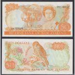 New Zealand-Reserve Bank 1981-85, Fifty Dollars,XAA 005699 yellow-orange, Hardie Chief Cashier
