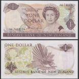 New Zealand Reserve Bank 1981-92, One Dollar, AA 746812 Dark Brown, Hardie Chief Cashier signature,