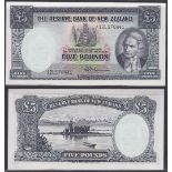 New Zealand-Reserve Bank 1956-767, Five Pounds, 12L970441 Blue, Captain Cook at Right, Fleming