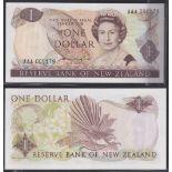 New Zealand-Reserve Bank 1981-85, One Dollar, AAA000179 Dark Brown, Hardie, Chief Cashier signature,