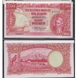 New Zealand-Reserve Bank of New Zealand 1956(ND)-Fifty Pounds, R199110 Red and multi coloured,