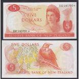 New Zealand-Reserve Bank 1975-7, Five Dollars 992 240780 Orange, Hardie Chief Cashier signature,
